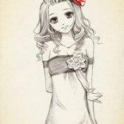 简单素描女生动漫头像:每天、每天我都有很努力很努力的去微笑